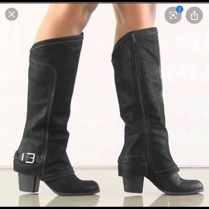 Fergalicious tall black suede boots